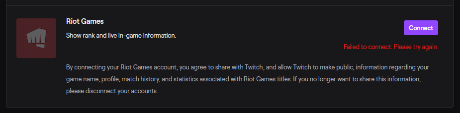 Riot Games - Failed to connect. Please try again.